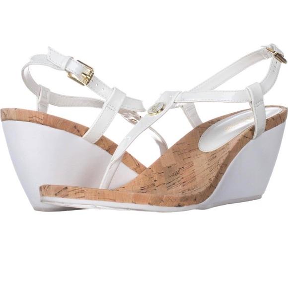 Ralph Lauren White Wedged Sandals